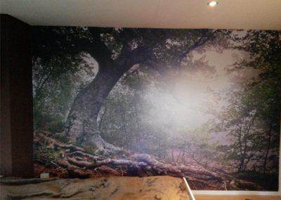 fotobehang in 1 stuk op een muur