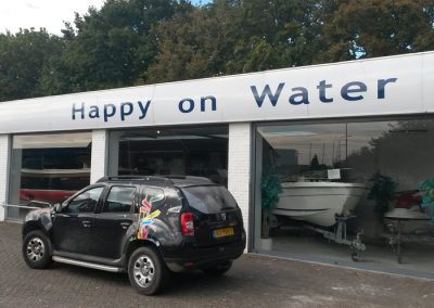 Gevelbelettering Happy on Water