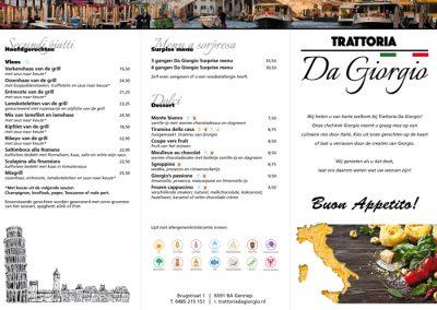 menukaart Da Giorgio 2