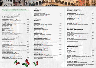 menukaart Da Giorgio